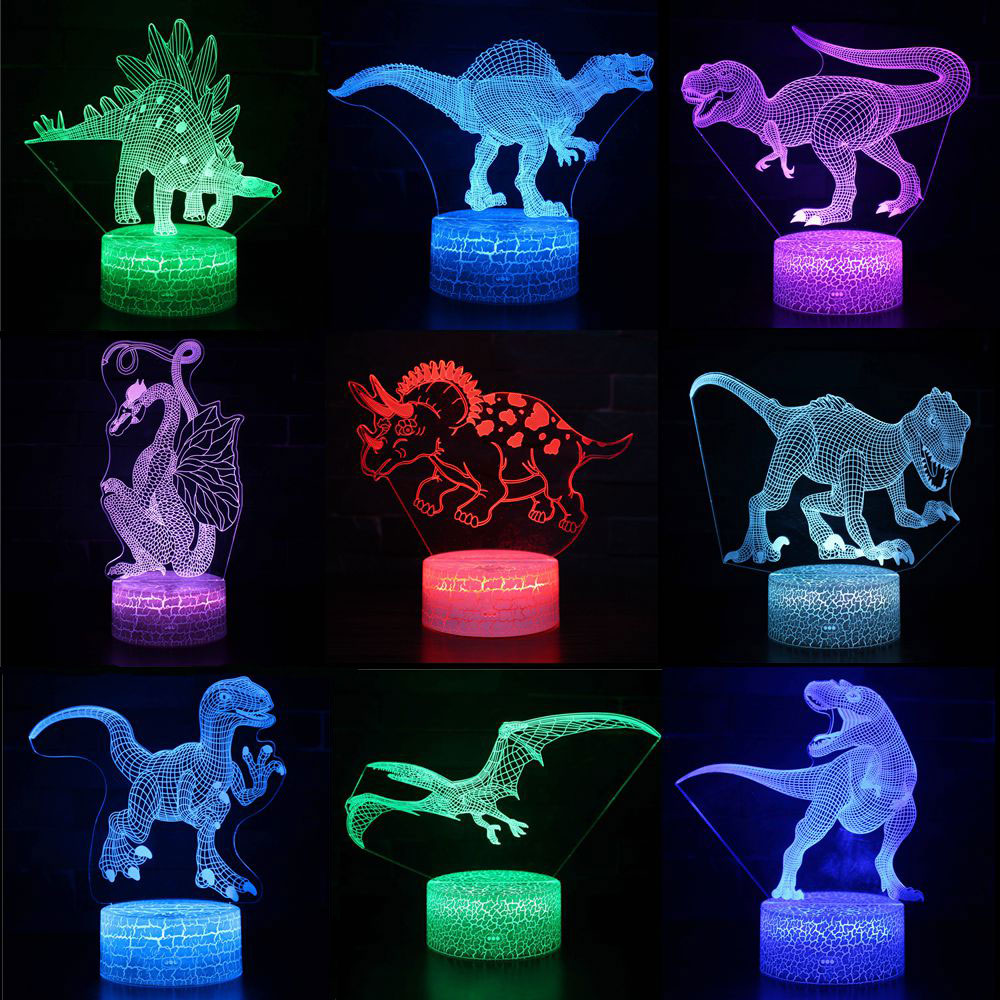 Dinosaur 3D LED Night Lights 7 Colors Changeable Hologram Atmosphere Novelty Table Lamp for Home Decoration Visual Illusion Gift