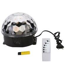 Mini RGB LED MP3 DJ Club Bar Disco Party Crystal Magic Ball la luz y La Música Bola Control Remoto del Efecto de Etapa Ligera con Disco USB
