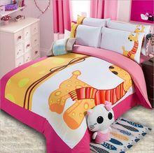 giraffe cartoon character kids bedding sets boys yellow designer polyester cotton duvet covers comforters 3