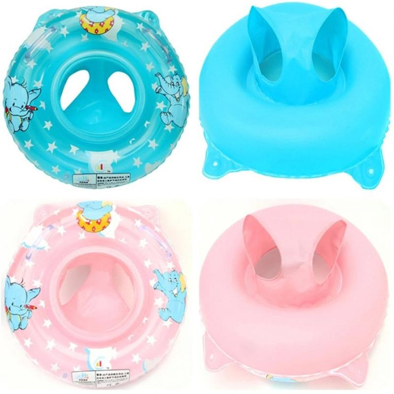 Baby Double Handle Safety Seat Float Inflatable Swimming Pool Cute Toddler Safety Pool Rings Water Toys Swim Circle for Kids