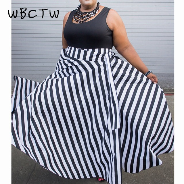 e27006b0d01 WBCTW 9XL 10XL Plus Size High Waist Woman Skirts 2018 Summer Long Vintage  Skirt With Pockets Black Striped Maxi Streetwear