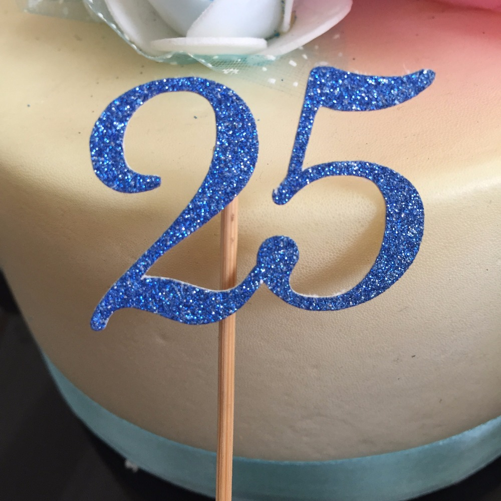 Royal Blue 25th Birthday Decorations Cupcake Toppers Anniversary 20th 30th 35th 40th 45th 50th Party Decor