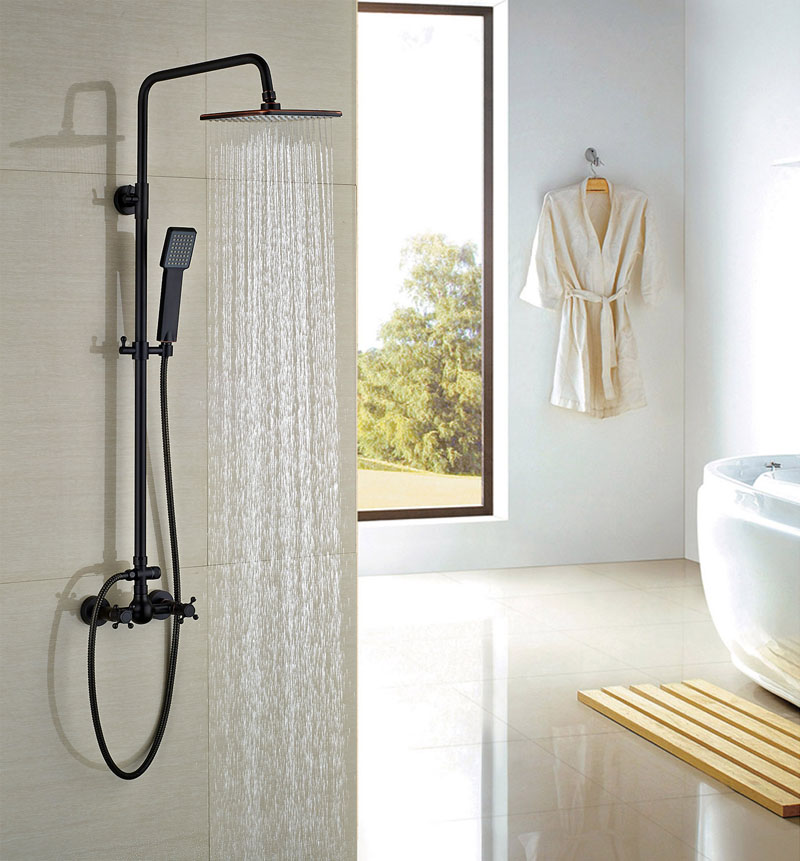 Bathroom Square Rainfall Shower With Hand Shower Oil Rubbed Bronze Shower Set Wall Mounted