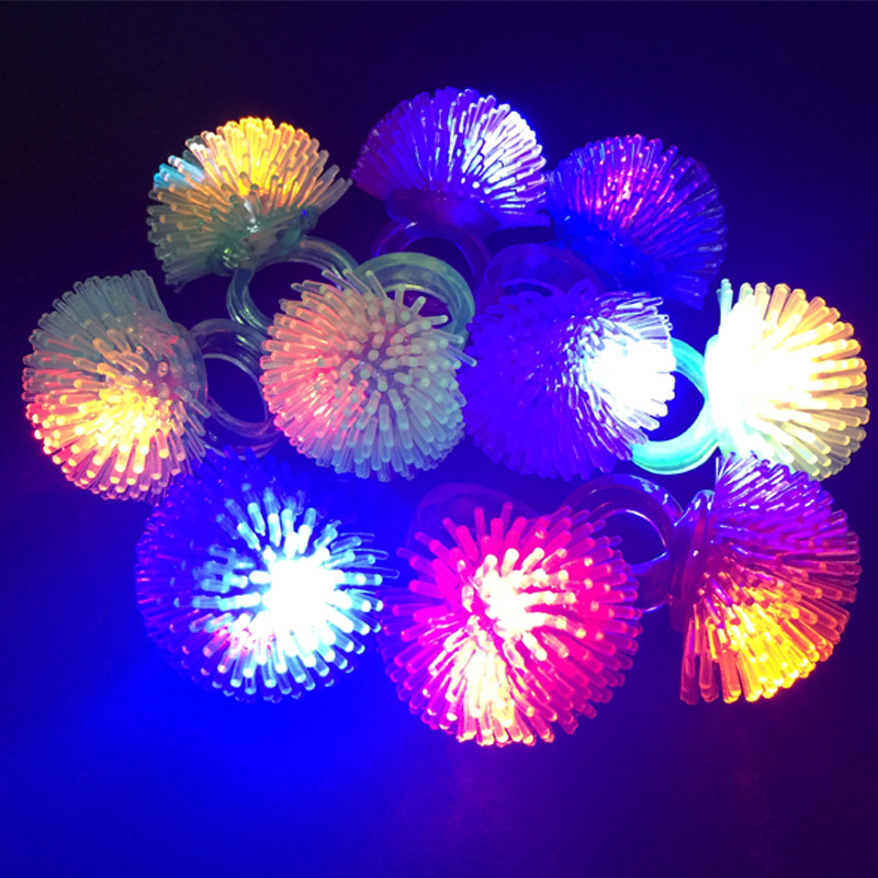 3PCS New Kids Light-Up Toys Silicone LED Flashing Light Ring Novelty Jlly Luminous Ring  ...