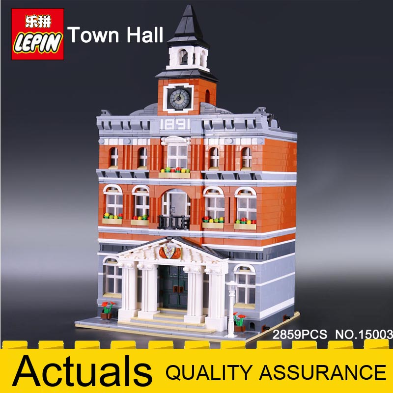 2018 LEPIN Building Blocks 15003 Town Hall Model Compatible legoing City Street 10224 Educational Toys Christmas New year Gifts lepin 15013 city street carousel model building kits assembling blocks toy legoing 10196 educational merry go round gifts