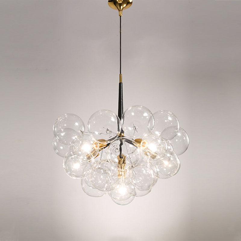все цены на Creative bubble led pendant lights for room bar clear glass lampshade , loft pendant lamp modern lighting fixtures E27/110-240v онлайн