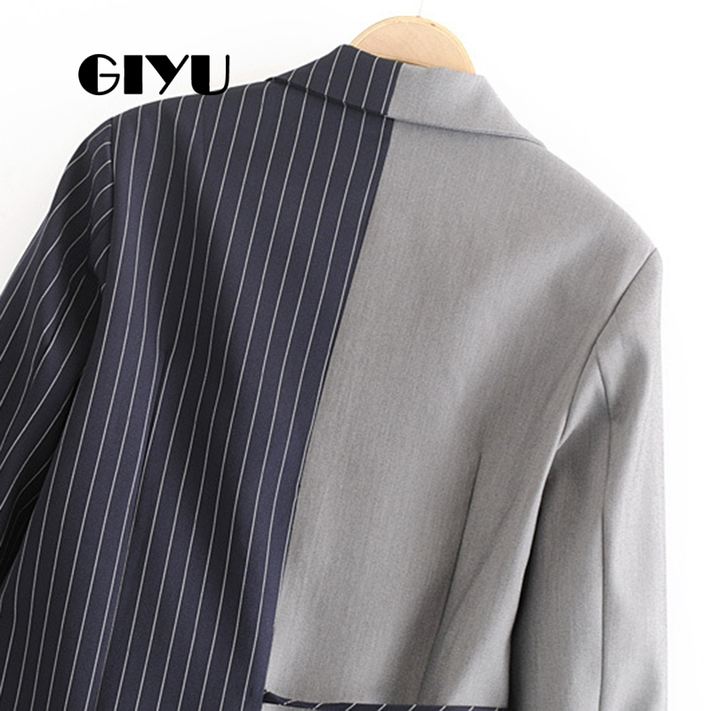 GIYU Autumn Women Patchwork Striped Blazer Long Sleeve Jackets Pockets Irregular Office Lady Casual Tie-Up Bow Camiseta Mujer