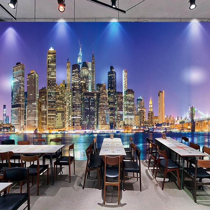 City Night View Custom Photo Wall Paper Non-woven Papel De Parede 3D Living Room Restaurant TV Background Decor Mural Wallpaper