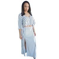 Plus Size 2 Pieces Deep V Black White Striped Flare Crop Top High Slit Dress Set