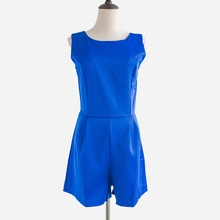 Новый летний Песочники женские комбинезон без рукавов Шорты без пояса основной комбинезон синий комбинезон Комбинезоны Macacao Feminino S5435