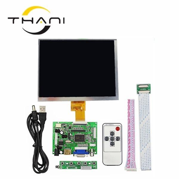 Thani HDMI/VGA/AV Control Driver Board + 8inch HE080IA-01D 1024*768 IPS high-definition LCD Display For Raspberry Pi