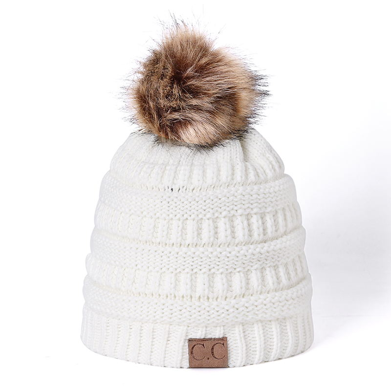 High Quality Beanies Cotton Add Wool Fur Ball Cap Pom Poms Winter ...