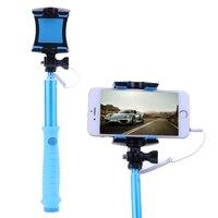 Mini Przenośne Selfie Kij Z Przyciskiem Wired Silikonowy Uchwyt Dźwigni Aluminium Zegar dla 4-6 Telefon komórkowy Na Zewnątrz Kemping Nowe narzędzia