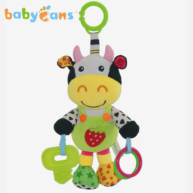 Music Baby Rattles Cartoon Cow Baby Toys Hanging Stroller Rattle Educational Toy Teether Infant Plush Mobile Baby Toy Crib Car