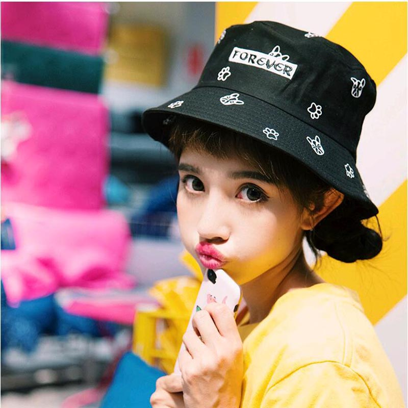 New Cute dog Pink Bucket Hats for Women print boonie Hats UV Protection bob Caps Fishing Sunscreen hat girls bucket for Summer