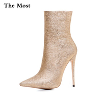 2017 High Heels Ankle Boots Fashion Shoes Women Crystal Zipper Motorcycle Boots Size