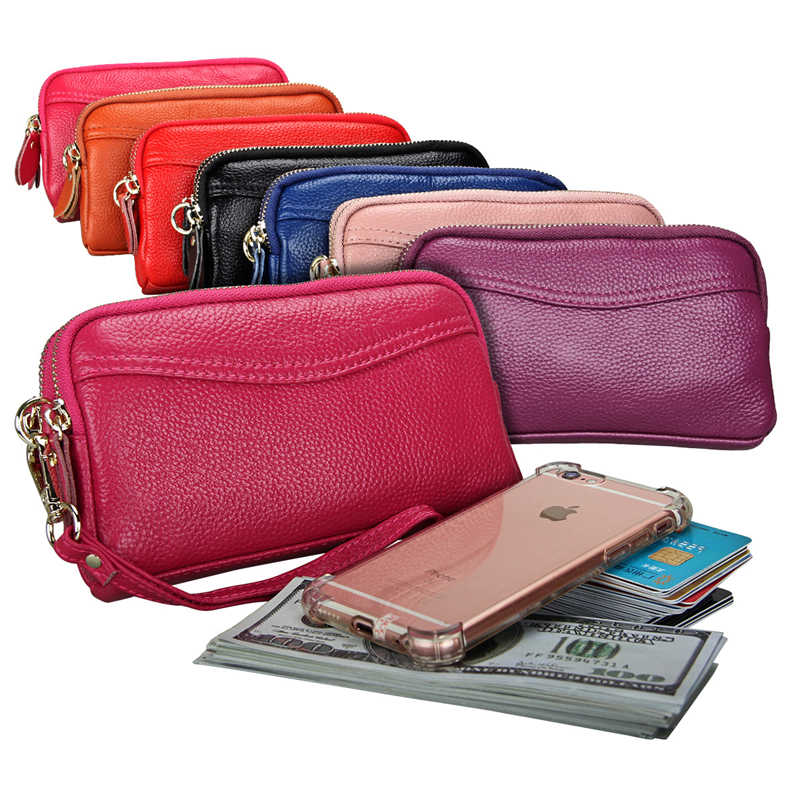 01a03fac4 2018 Genuine Leather Women Wallet and Purse Double Zipper Wristband Handbag  7 Colors Option Large Capacity