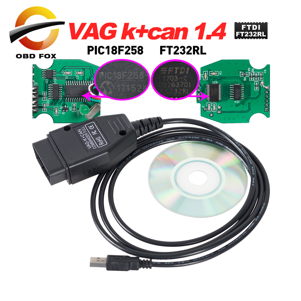 KINGBOLEN VAG K CAN Commander 1.4 with FTDI FT232RL PIC18F258 OBDII scanner For VW