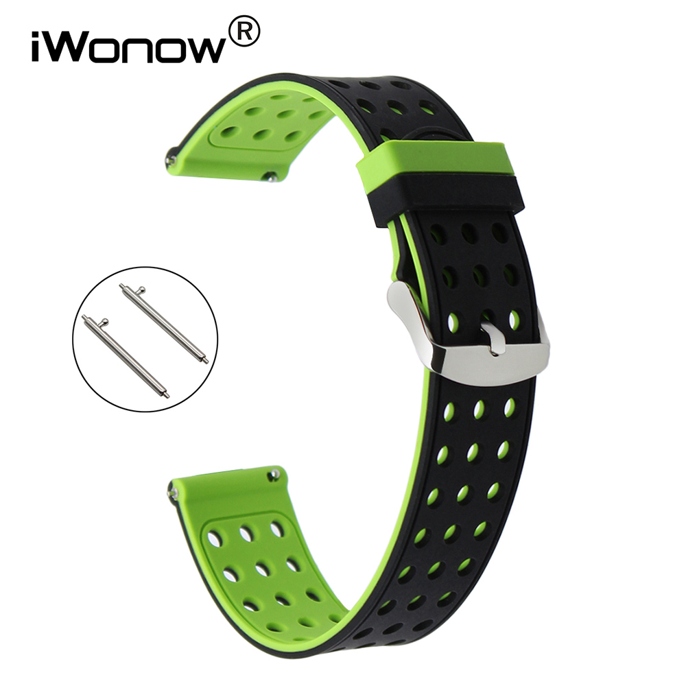 Quick Release Silicone Rubber Watch Band for Gear S2 Classic R732 R735 Moto 360 2 42mm Men Pebble Time Round 20mm Wrist Strap