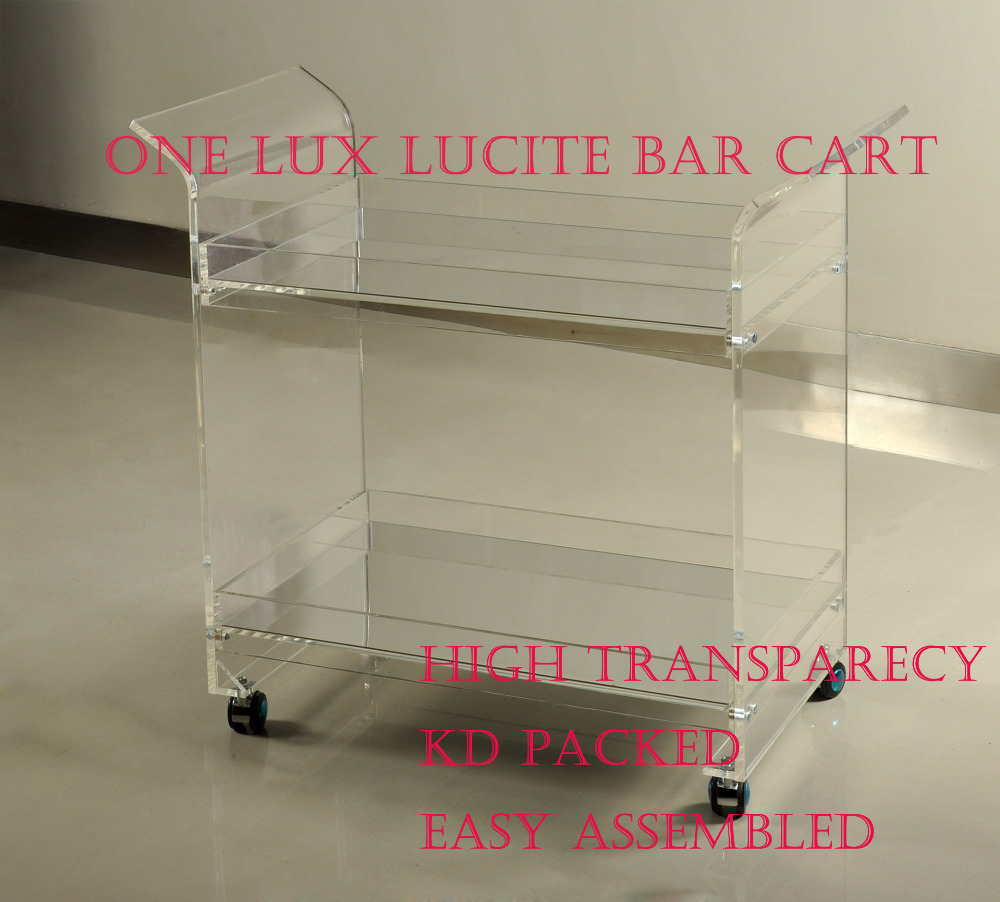 Купить с кэшбэком ONELUX Rolling Lucite Serving Bar Cart,Acrylic Trolleys With Wheels Mirror Trays -Flat Packed