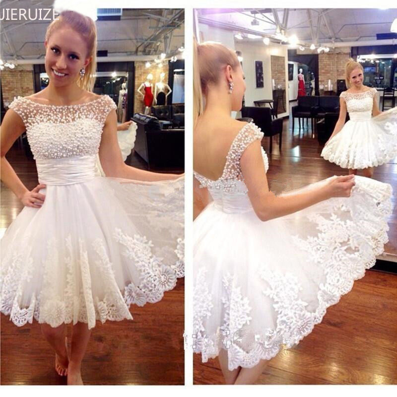 JIERUIZE vestidos de novia Lace Appliques Pearls Short Wedding Dresses Lace Up Back Cheap Wedding Gowns