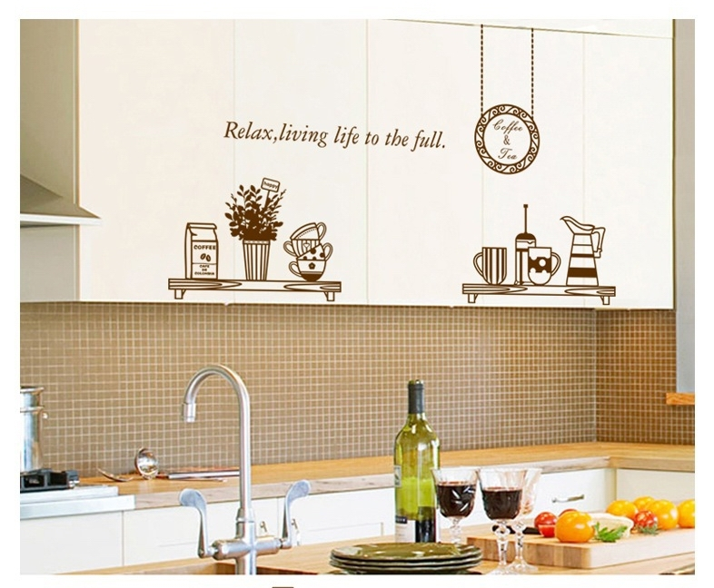 brown coffee milk wall sticker decals removal cups dinnerware vinyl wallpaper kitchen dining room cafe restaurant decoration in wall stickers from home