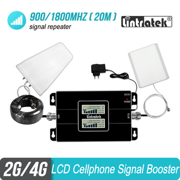 Lintratek LCD Display 2G 900 4G 1800 Cellular Signal Booster GSM DCS LTE 900MHz 1800 MHz Repeater Amplifier 4G Antenna 20m Kit#8