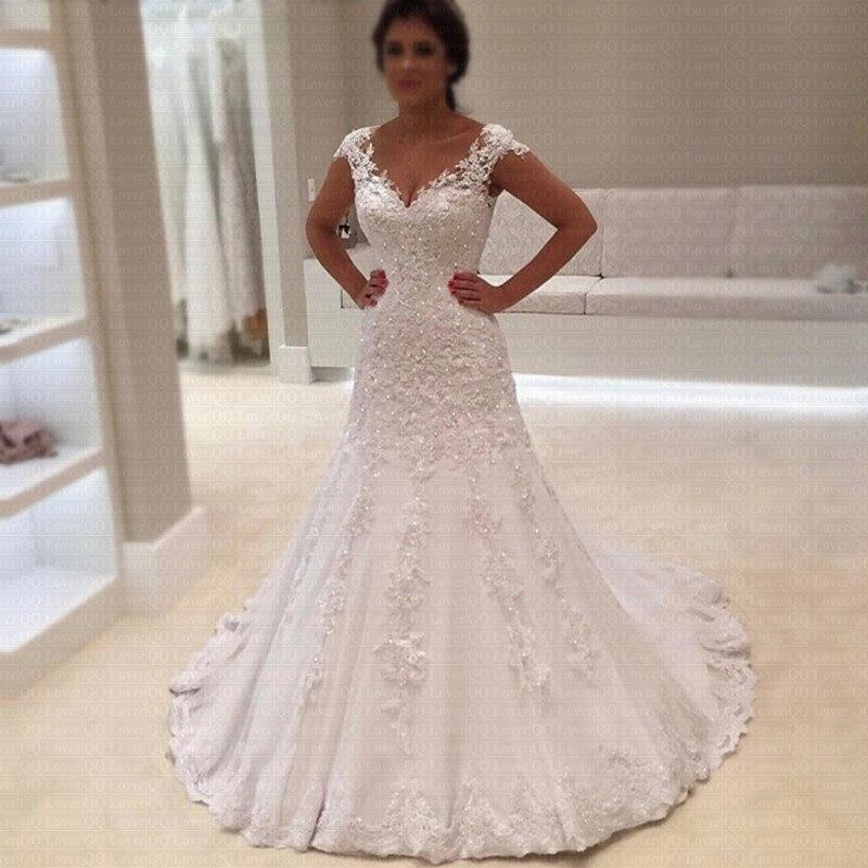 2019 Cheap Vestido de Noiva Robe de mariage Sexy V Neck Short Sleeves Lace Mermaid Wedding