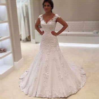 2019 Cheap Vestido de Noiva Robe de mariage Sexy V Neck Short Sleeves Lace Mermaid Wedding Dress Custom Made Bridal Gowns - DISCOUNT ITEM  20 OFF Weddings & Events