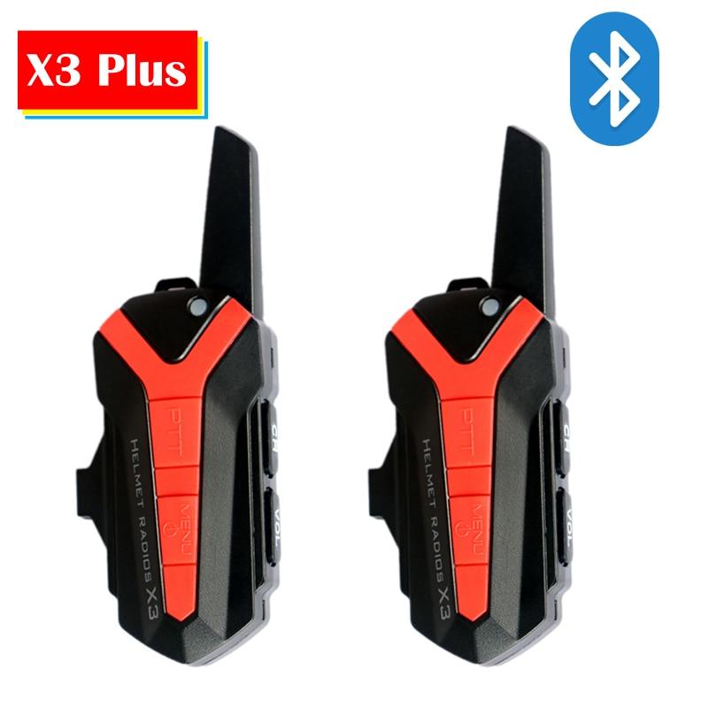 2pc X3 Plus Bluetooth BT Bicycle Bike Helmet 1.5 3KM Intercom Interphone Headset IP54 Waterproof 16 Channel Unlimited Number