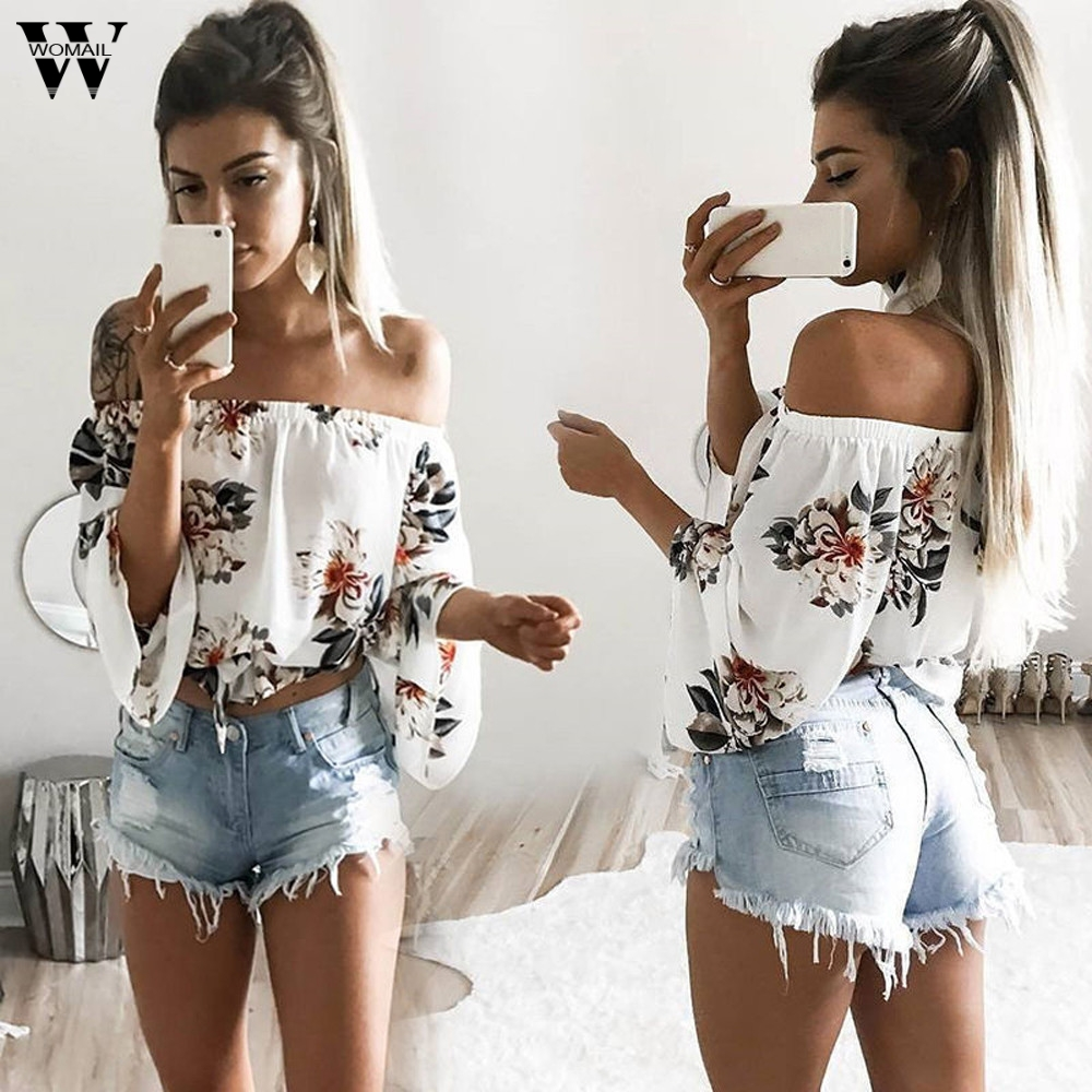 Casual Blouse Shirt Long-Sleeve Printed Loose Off-Shoulder Fashion Women Summer Slash