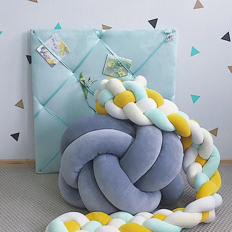2.2 Meter 4 Ropes Soft Cotton Baby Bed Bumper Bebek Baby Room Decor Bebes Crib Bumper Pillow Protect Bedding Crib Infant Room