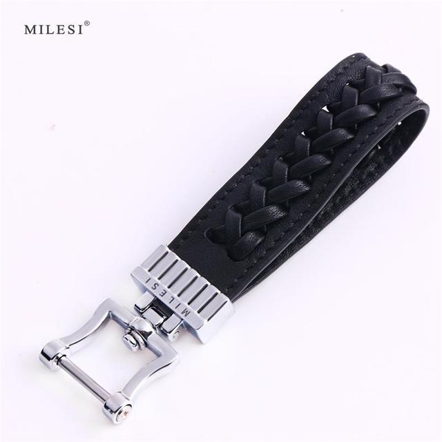 Milesi Braided Keychain Men Car Key Holder Vintage Style Keyring