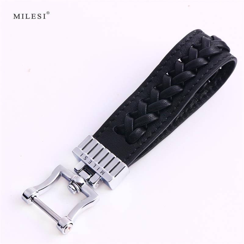 Milesi Braided Keychain Men Car Key Holder Vintage Style Keyring Luxury Cars Keychains Genuine Leather Gift For Male K0250