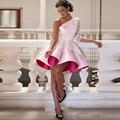 Short Evening Dresses Cheap Vestido De Festa A line Evening Dress One Shoulder Robe De Soirre 2016 Applique Evening Gown Pleats