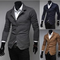 2017 New Winter Autumn Casual Men Blazer Cotton Slim England Suit Blaser Single breasted Male Jacket Blazer Men Size M XXL