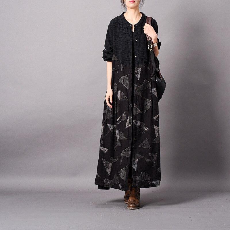 Для женщин Весна Ретро хлопковое лоскутное белье Тренч Дамы Свободные Винтаж тонкие кардиганы Женская верхняя одежда пальто 2019
