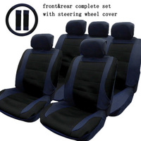 Free Shipping Universal Car Seat Cover Front Rear Seat 9 PCS Set Car Cover With Steering