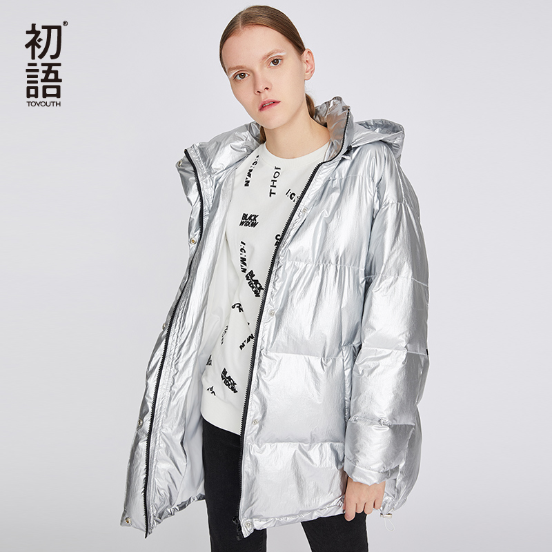 Toyouth Winter Letters Thickening Women Coats Long Sleeve Silver Padded Jacket Warm Hooded Female   Parka   Snow Coat Outwear