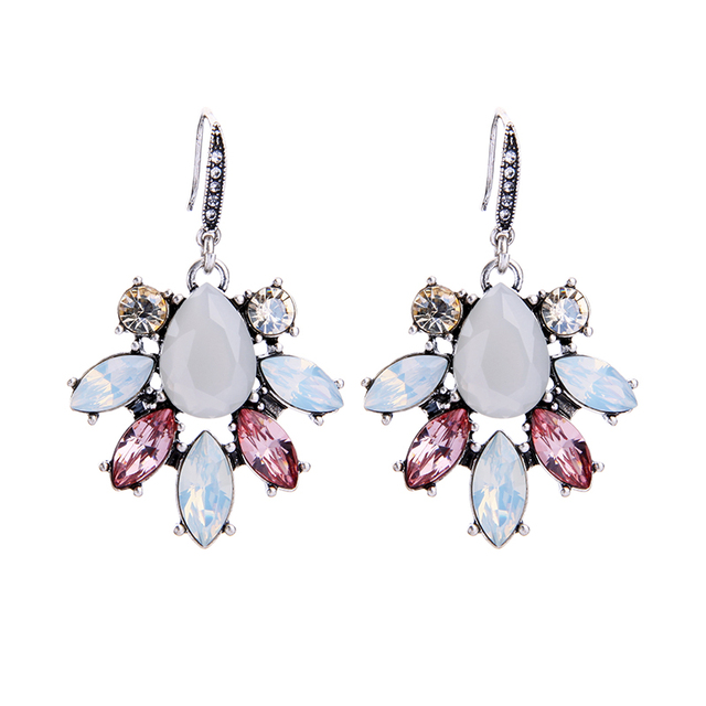 Korean Luxury Clear Glass Crystal Earrings 2017 Popular Women Dangle