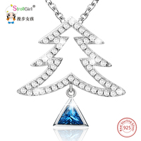 925 Sterling Silver Chain Christmas Pine Tree with Blue Triangle Zirconia Pendants & Necklaces For Women Fashion Jewelry Gifts