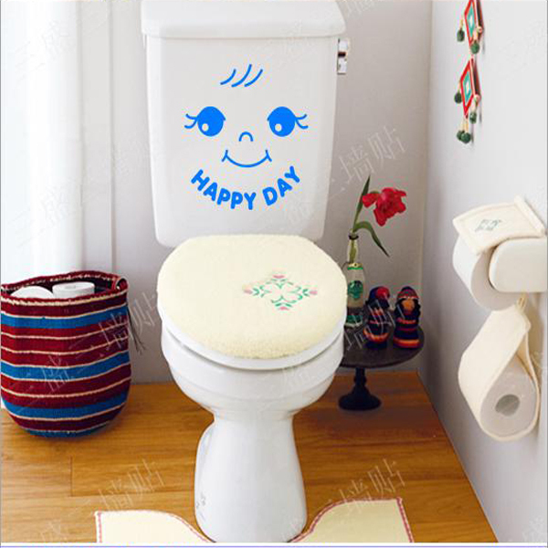 Home Decoration Cartoon Bathroom Wall Stickers Toilet Seat Sign Door