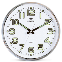 POWER Brand 13 Inch Round Wall Clock With Silent Non Ticking Night Light For Indoor Kitchen