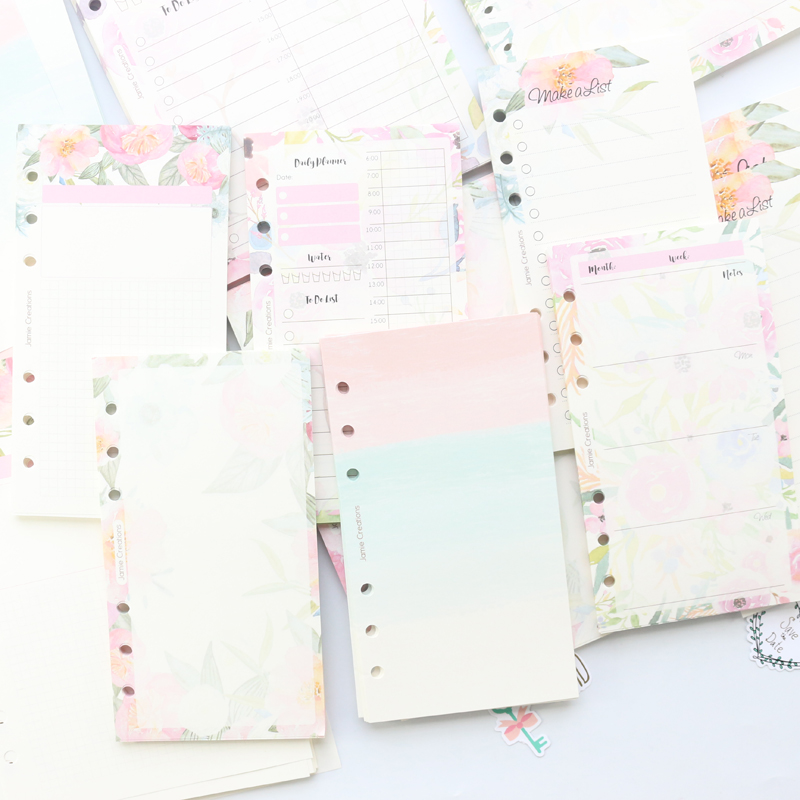 Domikee Candy Cartoon Flower Filling Inner Papers Core For 6 Holes Binder Notebooks:daily Planner Weekly Planner Blank List A5A6