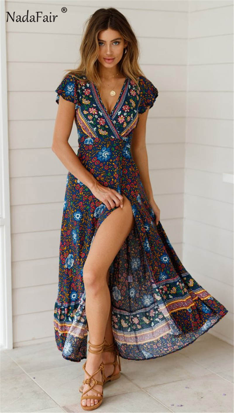 Nadafair Vintage Floral Maxi Dresses Elegant Beach Sash Sexy V Neck Split Print Tunic Long Summer Boho Dress Women Vestidos 5
