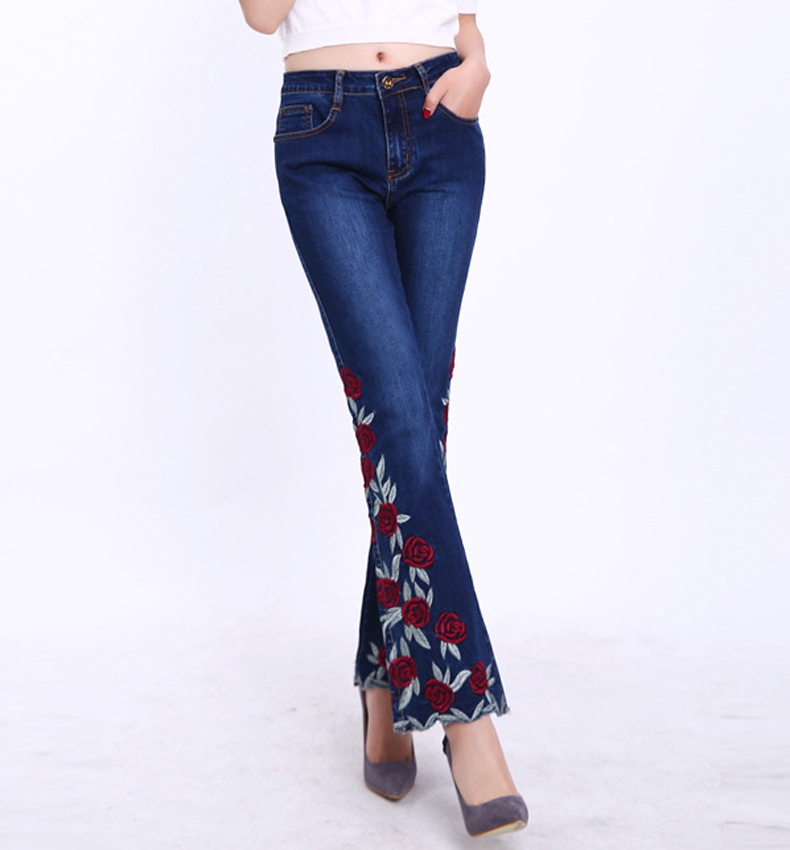 KSTUN Woman Jeans Bell Bottom Jeans Embroidered High Stretch Womens Flared Pants Denim Ladies Flowers Embroidery Jeans Mujer Femme 36 14