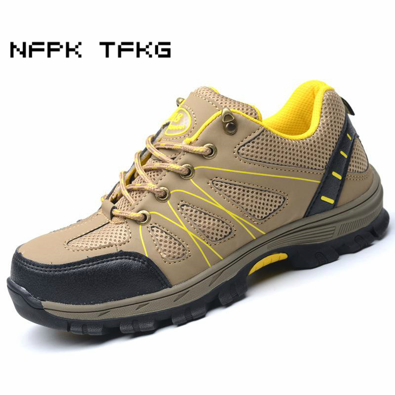 big size men casual breathable steel toe cap working safety shoes soft leather non slip tooling