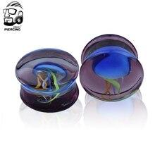 Romantic 8-16mm colorful jellyfish Glass Ear Plug Gauge Tunnel Body Piercing Jewelry Ear gauges