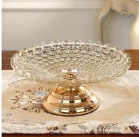 European luxury home glass fruit plate, living room creative decoration, modern dried fruit plate, fruit bowl, candy dish