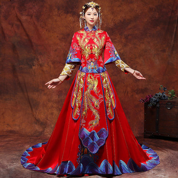 Bride Wedding Cheongsam Red 2018 New Traditional Chinese Wedding Gowns Women Phoenix Embroidery Qipao Dress Robe Rouge Kimono